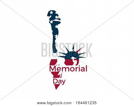 Memorial Day. Statue Of Liberty On A White Background. Emblem, Logo. Vector Illustration