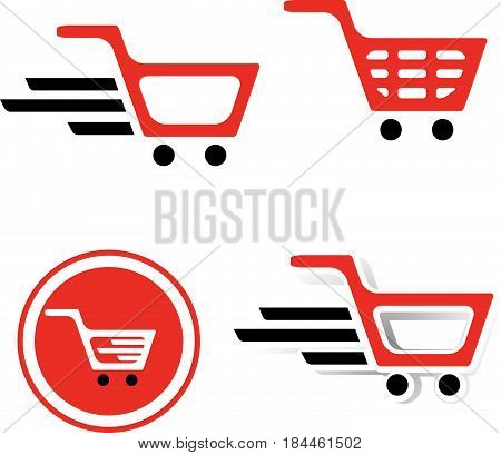 Illustration of Simple Shopping Basket Sign Collection