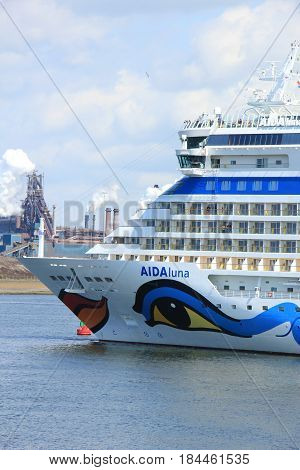 IJmuiden the Netherlands -April 29th 2017: Aida Luna docked at Felison Cruise Terminal IJmuiden
