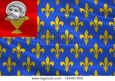 Flag of Saint-Jean-d'Angely is a commune in the Charente-Maritime department in southwestern France. 3D illustration