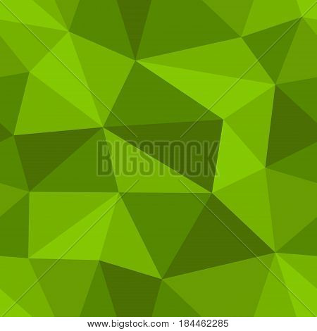 Abstract seamless light and dark green triangles pattern for background. Geometric layout for printing magazine cover, advertise presentation, flyer. Template polygon backdrop for poster page.