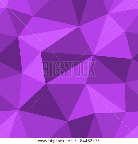 Abstract seamless light and dark purple triangles pattern for background. Geometric layout for printing magazine cover, advertise presentation, flyer. Template polygon backdrop for poster page.
