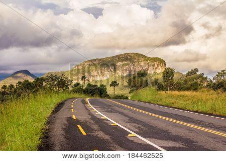 Go 239. Mountain Road Landscape In Chapada Dos Veadeiros