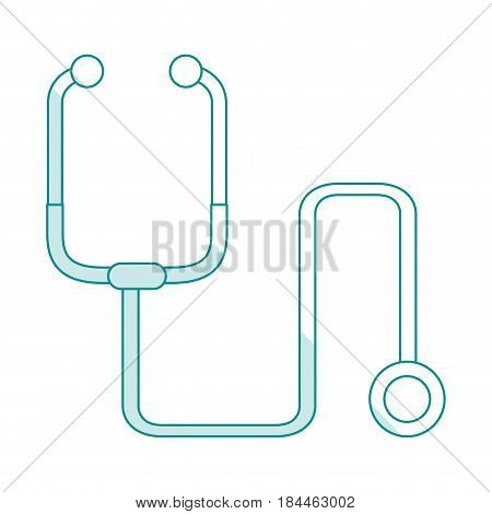 blue silhouette shading cartoon stethoscope medical with auriculars vector illustration