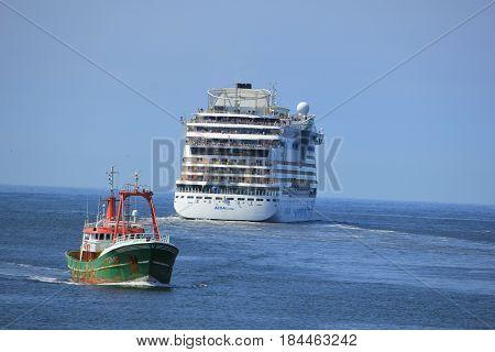 IJmuiden the Netherlands -April 29th 2017: Aida Luna leaving IJmuiden on North sea