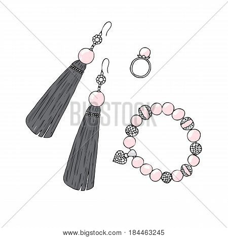 Women jewelry earrings, ring and bracelet with pink pearls.
