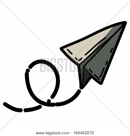 light colored hand drawn silhouette of paper plane with half shadow vector illustration