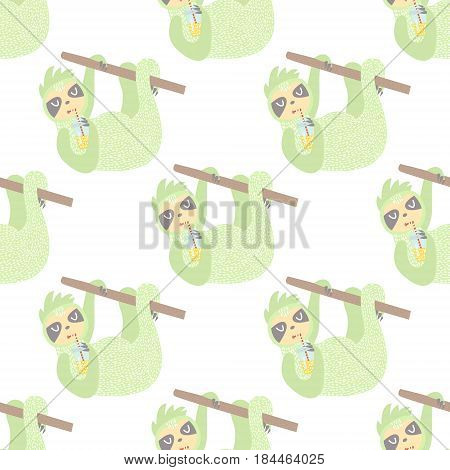 Cute seamless pattern with sloth. Childish texture for fabric textile.Vector Illustration