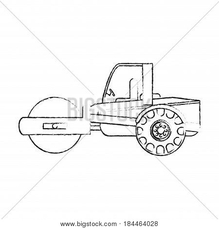 black blurred silhouette cartoon road roller machine vector illustration