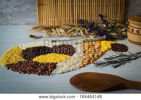 Tasty buckwheat grain, rice, corn, pea, semolina and lentil.