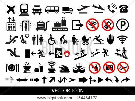 icon, vector, symbol, sign, illustration, airport, set, airplane, travel, departure, security, luggage, transport, business, collection, arrival, information, toilet, pictogram, flight, plane, suitcase, passport, food, waiting, isolated, taxi, flying, bag