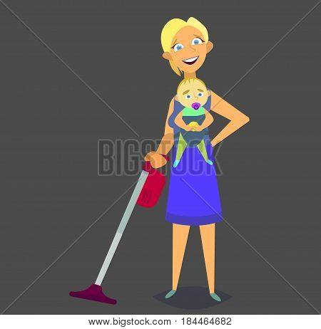 Housewife vacuuming and holds the baby in her arms. A woman is planning time and time to do all the chores. Vector illustration in flat style.