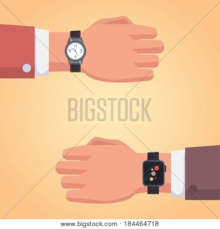Smart watch on businessman hand. Illustration of a isolated smart watch icon. vector set.