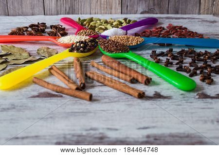 Black pepper, cardamom, coriander, mustard seeds, bay leaf, cinnamon, anise, goji berries, salt, sesame and cloves in the colorful spoons in the form of a circle on a gray background.