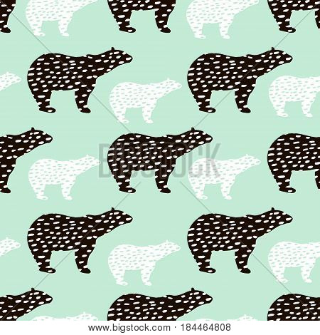 Seamless pattern with polar bear silhouette. Perfect for fabrictextile.Vector background