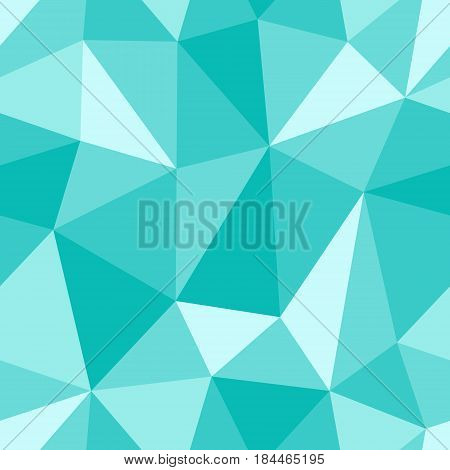 Abstract seamless light and dark turquoise triangles pattern for background. Geometric layout for printing magazine cover, advertise presentation, flyer. Template polygon backdrop for poster page.
