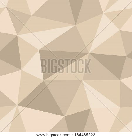 Abstract seamless light and dark beige triangles pattern for background. Geometric layout for printing magazine cover, advertise presentation, flyer. Template polygon backdrop for poster page.