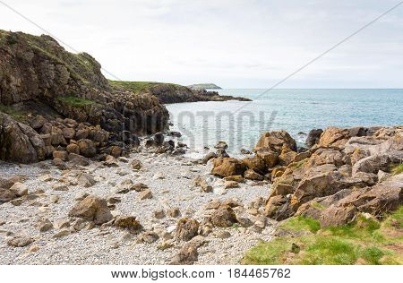 Rocky bay close to Cemaes Bay in Anglesey North Wales