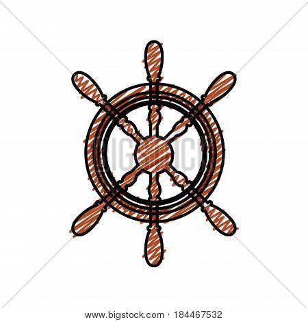 rudder wheel icon over white background. sea lifestyle concep. vector illustration