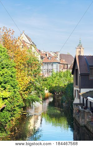 small rural canal of Colmar, Alsace, France