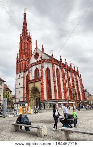 Wurzburg, Germany - April 21, 2013: Church of Our Lady (Marienkapelle) in Wurzburg. Wide angle shot