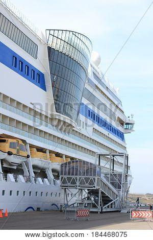 IJmuiden the Netherlands - April 30th 2017: Aida Sol passengers boarding the ship