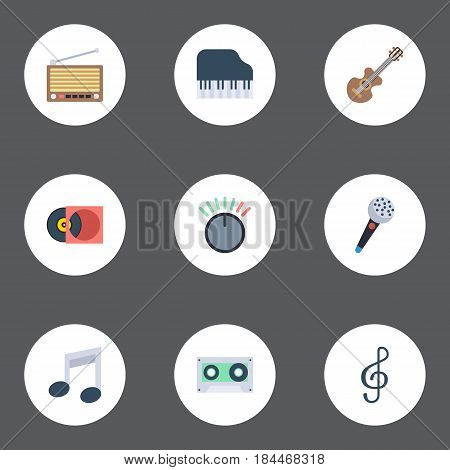 Flat Karaoke, Tape, Acoustic And Other Vector Elements. Set Of Music Flat Symbols Also Includes Note, Knob, Retro Objects.
