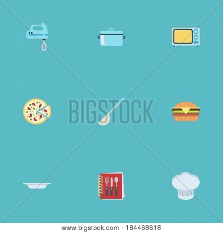 Flat Dish, Soup Spoon, Electric Stove And Other Vector Elements. Set Of Cooking Flat Symbols Also Includes Burger, Book, Casserole Objects.