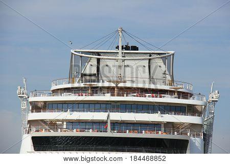 IJmuiden the Netherlands -April 30th 2017: Aida Sol at the Felison Cruise Terminal IJmuiden detail of ship