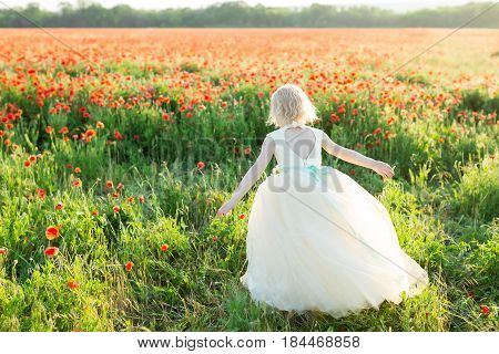 girl model, poppies, spring, nature concept - the girl with white hair running away to a sunny field of poppies, little princess in white beautiful dress with back cutout in the shape of a heart