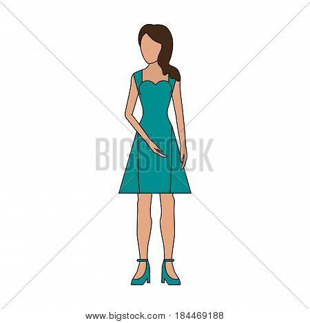 color image realistic silhouette faceless woman with dress clothing vector illustration