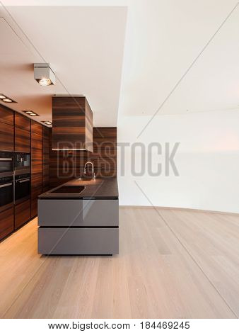 Wide brown kitchen, electrical modern appliance