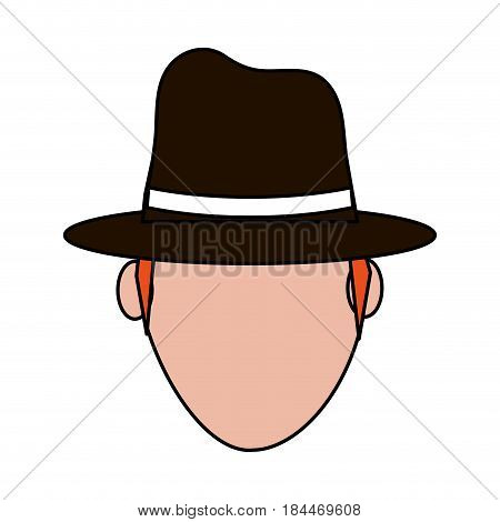 color image silhouette front view faceless explorer man with hat vector illustration