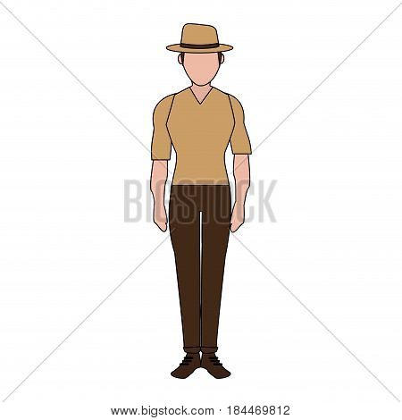 color image silhouette full body faceless explorer man with hat vector illustration