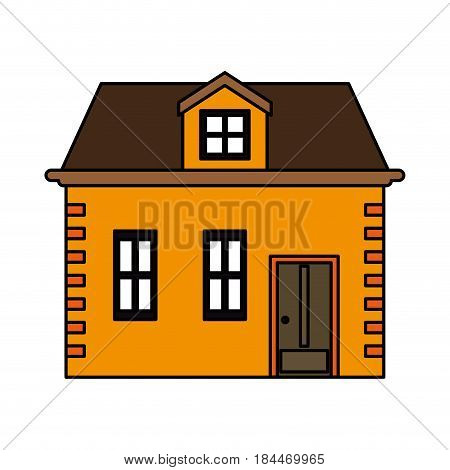 color image cartoon facade house with two floors vector illustration