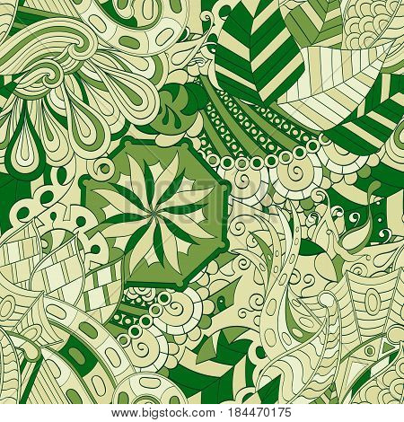 Tracery Seamless Calming Pattern. Mehendi Design. Ethnic Green Doodle Texture. Indifferent Discreet.