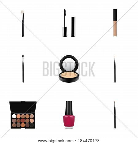 Realistic Multicolored Palette, Brush, Cover And Other Vector Elements. Set Of Greasepaint Realistic Symbols Also Includes Mascara, Makeup, Eyeshadow Objects.