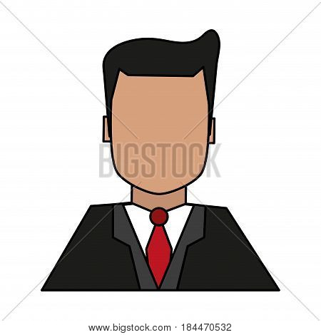 color image half body faceless man with executive suit vector illustration