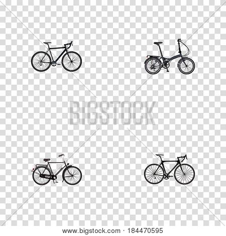Realistic Training Vehicle, Exercise Riding, Folding Sport-Cycle And Other Vector Elements. Set Of Bike Realistic Symbols Also Includes Bike, Folding, Cyclocross Objects.