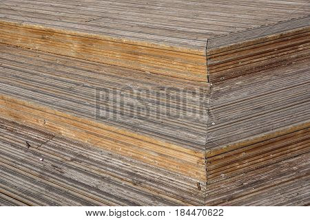 Wood Plank Stair Steps . Close up photo