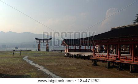 Itsukushima Shrine at Seto Naikai sea which in Japan