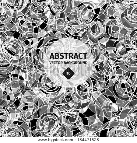Black and white seamless abstract pattern, geometric artwork, magic graphic repetition with meditation effect, spiral print design. Vector illustration