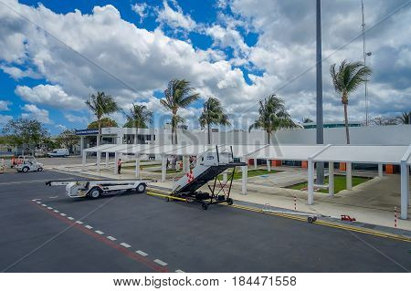 COZUMEL, MEXICO - MARCH 23, 2017: The beautiful airport of cozumel in a cloudy day, front day.