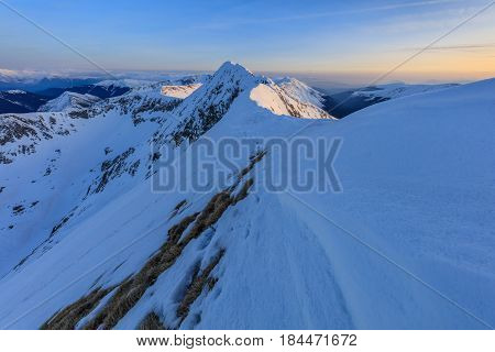 after sunset in the Fagaras Mountains Romania