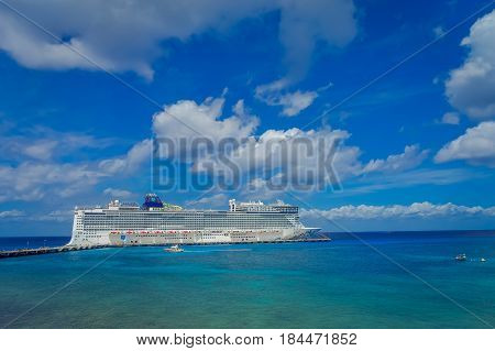 COZUMEL, MEXICO - MARCH 23, 2017: The beautiful cruise Norwegian Epic, in Cozumel Port visit the island of Cozumel.