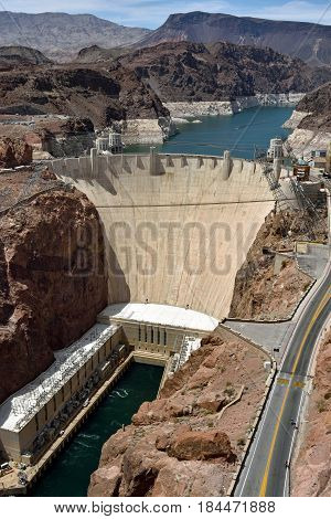 Areal View Of Hydroelectric Power Station Hoover Dam From Mike O'callaghan Pat Tillman Memorial Brid