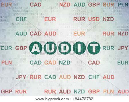 Business concept: Painted green text Audit on Digital Data Paper background with Currency