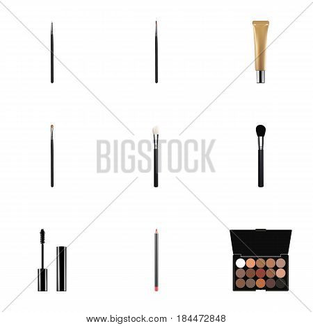 Realistic Eyelashes Ink, Beauty Accessory, Mouth Pen And Other Vector Elements. Set Of Greasepaint Realistic Symbols Also Includes Brush, Makeup, Blush Objects.