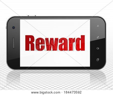 Finance concept: Smartphone with red text Reward on display, 3D rendering
