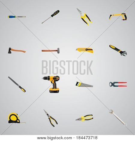 Realistic Arm-Saw, Handle Hit, Tongs Vector Elements. Set Of Tools Realistic Symbols Also Includes Axe, Clippers, Spanner Objects.